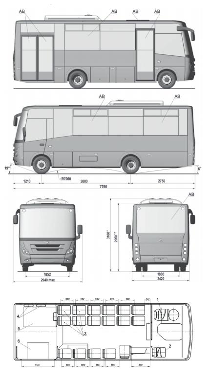 Схема автобусу ЗАЗ А08