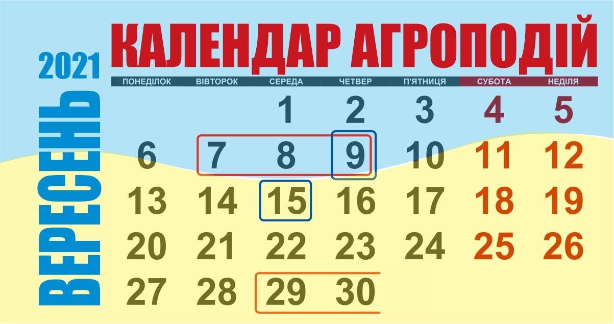 Календар агроподій вересня